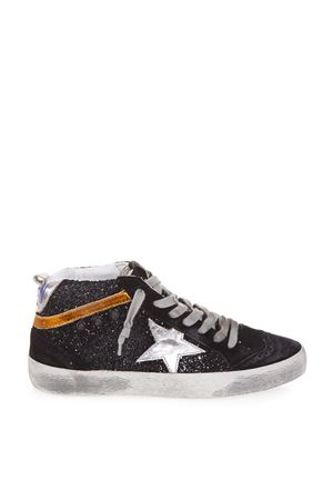 MID STAR BLACK GLITTER LEATHER SNEAKERS FW 2018 GOLDEN GOOSE DELUXE BRAND | 55 | G33WS6341N3