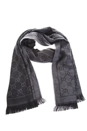 ANTHRACITE WOOL SCARF WITH GG MOTIF FW 2018 GUCCI | 20 | 1334833G2001160