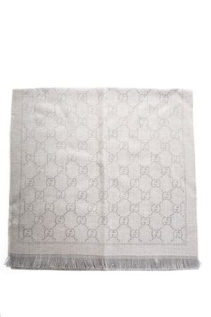 LIGHT GRAY WOOL SCARF WITH GG MOTIF FW 2018 GUCCI | 20 | 1334833G2001763
