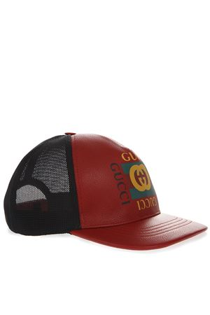 RED AND BLACK BASEBALL LEATHER AND MESH HAT WITH LOGO FW 2018 GUCCI | 17 | 4268874HD946460