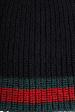 WEB WOOL CABLE KNIT BEANIE HAT FW 2018 GUCCI | 17 | 4297534G2061000