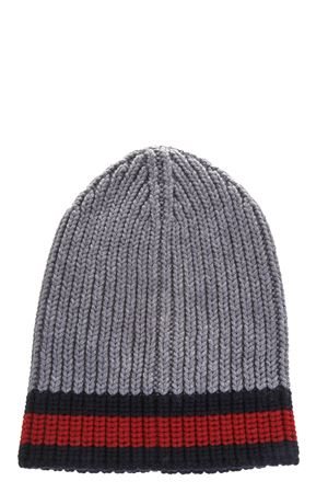 WEB WOOL CABLE KNIT BEANIE HAT FW 2018 GUCCI | 17 | 4297534G2061100