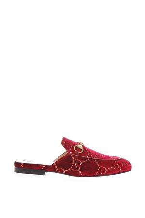 RED VELTVET MULES WITH DOUBLE G MOTIF FW 2018 GUCCI | 110000060 | 4750949JT206496
