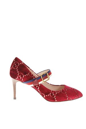 RED VELVET PUMPS WITH GG GUCCI LOGO FW 2018 GUCCI | 68 | 5061989TI106499