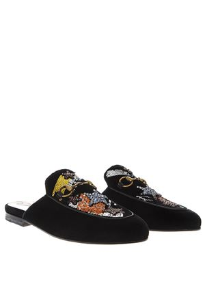 EMBELLISHED PRINCETOWN BLACK SUEDE MULES FW 2018 GUCCI | 110000060 | 525780K4DD01000