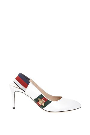 WHITE WEB PUMPS WITH DRAGONFLY DETAIL FW 2018 GUCCI | 68 | 5259410HEN09140