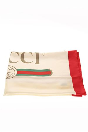 IVORY & RED SILK SCARF WITH LOGO GUCCI FW 2018 GUCCI | 20 | 5290023G0019274