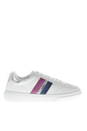 H365 WHITE LEATHER SNEAKERS WITH MULTICOLOR GLITTER INSERT FW 2018 HOGAN CAPSULE   55   GYW3650AY20JVZ0351