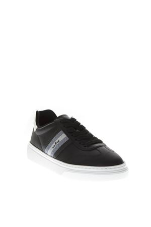 H365 BLACK LEATHER SNEAKERS WITH GLITTER INSERT FW 2018 HOGAN CAPSULE | 55 | GYW3650AY20JVZ0353