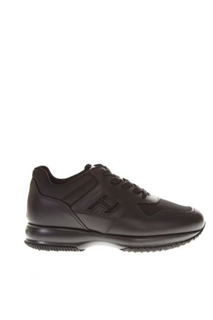 INTERACTIVE BLACK LEATHER & NYLON SNEAKERS FW 2018 HOGAN | 55 | HXM00N0Y720JCEB999