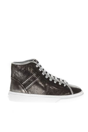 H365 METALLIC LEATHER HIGH-TOP SNEAKERS