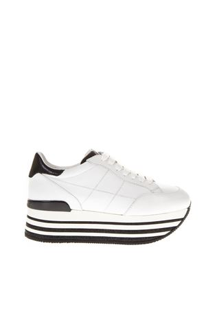 33ad8c466478 WHITE BLACK MAXI LEATHER SNEAKERS HOGAN FW 2018 HOGAN