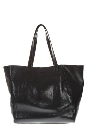 BLACK SHINY LEATHER SHOPPER BAG WITH EMBOSSED LOGO FW 2018 HOGAN | 2 | KBW00WA6400J5YB999
