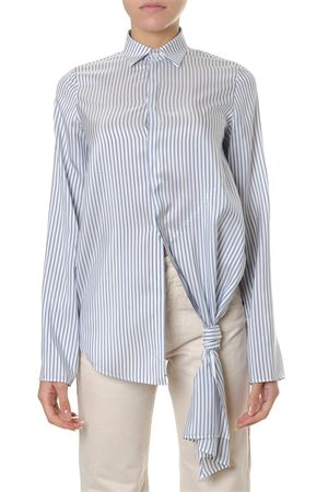 WHITE AND BLUE STRIPED SILK SHIRT WITH DECORATIVE KNOT FW 2018 LOEWE | 9 | S2289512GH15102
