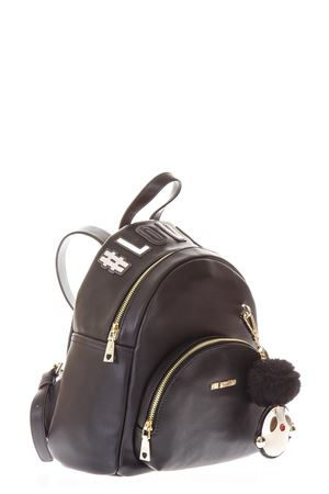 ZAINO PICCOLO NERO IN ECOPELLE CON CIONDOLO AI 2018/2019 LOVE MOSCHINO | 183 | JC4072PP16LKUNI0000