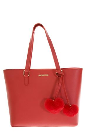 RED FAUX LEATHER SHOPPER BAG WITH POM POM FW 2018 LOVE MOSCHINO | 2 | JC4322PP06KW10500