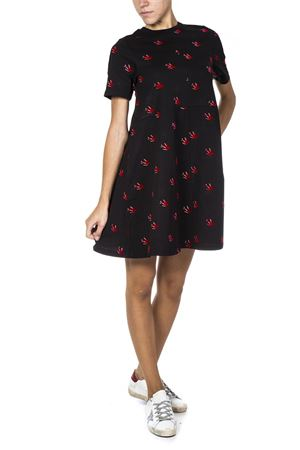 BLACK COTTON DRESS WITH RED SHALLOW PRINT FW 2018 McQ ALEXANDER MCQUEEN | 32 | 522834RLJ891000