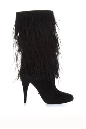 BLACK SUEDE BOOTS WITH DECORATIVE FEATHERS APPLIED FW 2018 MICHAEL MICHAEL KORS | 52 | 40F8ASHE5SASHA 001