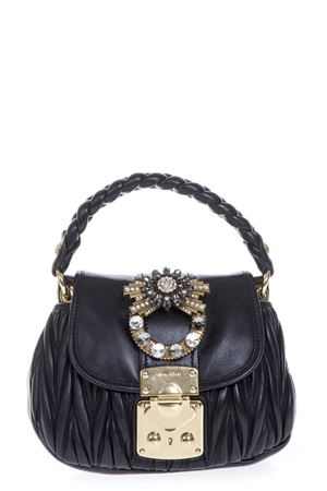 EMBELLISHED BLACK LEATHER HAND BAG FW 2018 MIU MIU  101635a6154a6