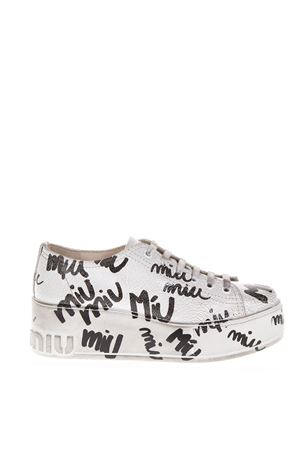 MIU MIU BLACK   WHITE LEATHER LOGO SNEAKER FW 2018 MIU MIU  b453367768cdb