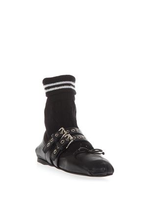 BLACK LEATHER BALLERINAS WITH SPORT SOCK AI 2018 MIU MIU | 150 | 5F152CFB0053KLQF0002