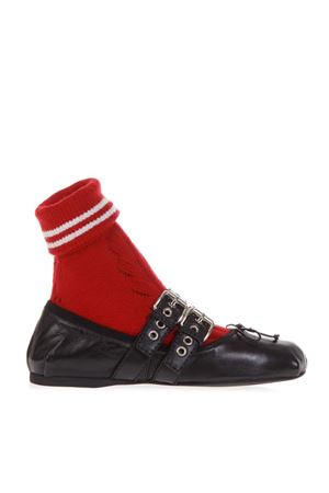 BLACK LEATHER BALLERINAS WITH RED SPORT SOCK FW 2018 MIU MIU | 150 | 5F152CFB0053KLQF0N98