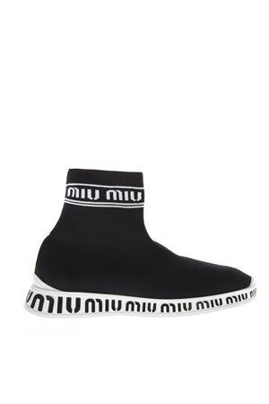 BLACK & WHITE KNIT HIGH-TOP SNEAKERS FW 2018 MIU MIU | 55 | 5T070CF0103KJRF0967