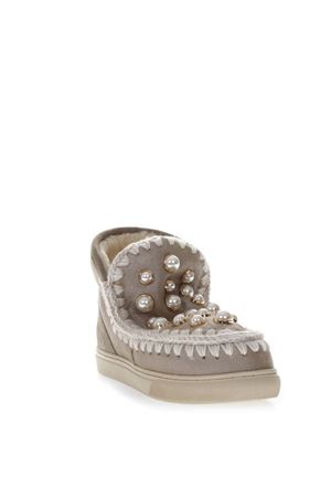 TAUPE LEATHER SNEAKERS BOOTS WITH PEARLS FW 2018 MOU | 52 | MU.ESKISNEPEARL/STM/STONE
