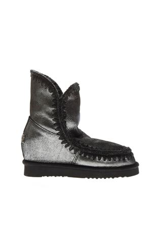 ESKIMO SILVER LEATHER & WOOL BOOTS FW 2018 MOU | 52 | MU.INTESKIMOSHO/MG/BLACK