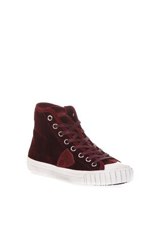 BURGUNDY VELVET HIGH-TOP SNEAKERS FW 2018 PHILIPPE MODEL | 55 | GRHDUNIEV04