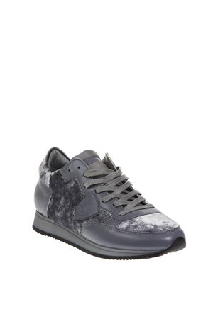TROPEZ GRAY VELVET & LEATHER SNEAKERS FW 2018 PHILIPPE MODEL | 55 | TRLDUNIEV07