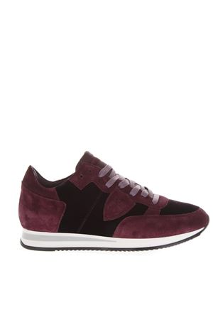 SNEAKERS TROPEZ IN VELLUTO E CAMOSCIO BORDEAUX E NERO AI 2018 PHILIPPE MODEL | 55 | TRLDUNIEV10