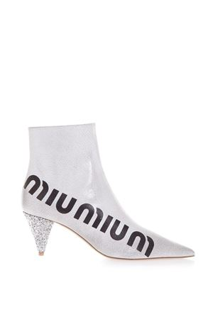 WHITE MIU MIU CRACKED BOOTS IN LEATHER FW 2018 MIU MIU | 52 | 5U071CF0653KJ9F0G3Z