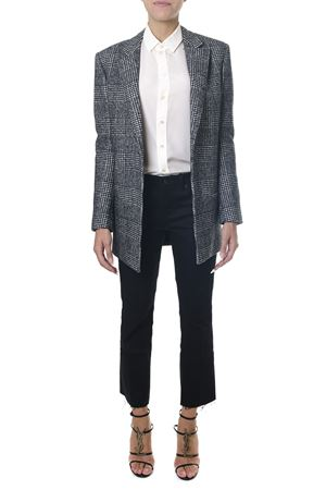 BLAZER IN LANA PRINCIPE DI GALLES BIANCO E NERO AI 2018 SAINT LAURENT | 14 | 531452Y223T1095