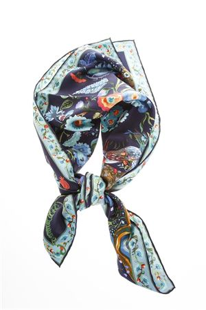 MULTICOLOURED SILK FLORAL PRINT SCARF FW 2018 SALVATORE FERRAGAMO | 20 | 317485004NAVY/BLUE HAZE