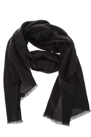 BLACK SILK & WOOL SCARF WITH LOGO FW 2018/2019 SALVATORE FERRAGAMO | 20 | 323010ST GANNERO