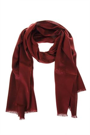 WINE SILK & WOOL SCARF WITH LOGO FW 2018/2019 SALVATORE FERRAGAMO | 20 | 323010ST GANSANGRIA