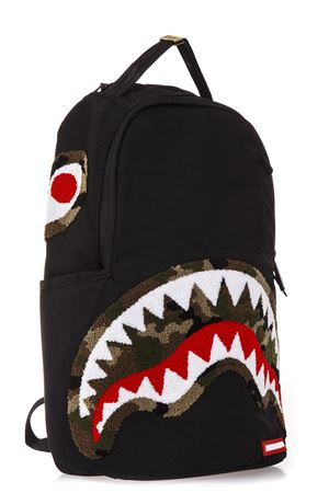 BLACK FABRIC BACKPACK WITH SHARK MOUTH FW 2018 SPRAYGROUND | 183 | 910B1712NSZCAMO CHENILLE SHARK1