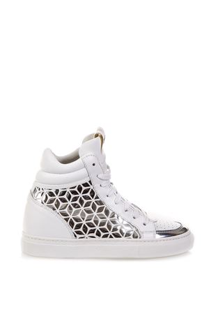 SNEAKERS IN PELLE BIANCA E ARGENTO AI 2018 THoMS NICOLL | 55 | 389VIT+ROMBIBIANCO/ARGENTO