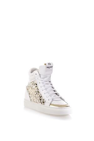 WHITE & GOLD LEATHER HIGH-TOP SNEAKERS SS 2018 THoMS NICOLL | 55 | 389VIT+ROMBIBIANCO/ORO