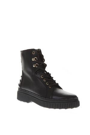 BLACK LEATHER ARMY BOOTS FW 2018 TOD