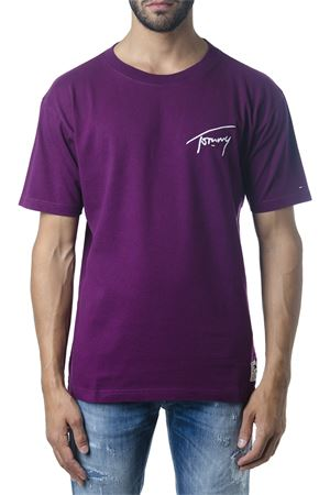 VIOLET COTTON T-SHIRT WITH TOMMY LOGO FW 2018 TOMMY JEANS | 16 | DM0DM056745711571