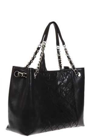 FLEMING BLACK LEATHER TOTE BAG FW 2018 TORY BURCH   2   50286FLEMING DISTRESSED001