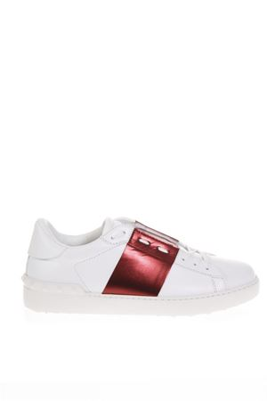 OPEN WHITE & RUBY LEATHER SNEAKERS FW 2018 VALENTINO GARAVANI | 55 | QY2S0830FLR28W