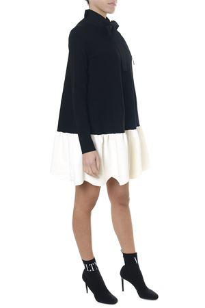 WHITE & BLACK VISCOSE FLARED SHORT DRESS FW 2018 VALENTINO   32   QB0KD0824C90NA