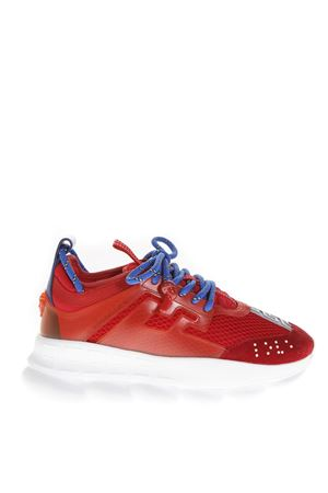 RED FABRIC & LEATHER CHAIN REACTION SNEAKERS FW 2018 VERSACE | 55 | DSR705GD7CTGD6T