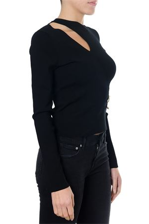 BLACK SWEATER WITH CUT-OUT DETAIL AND SAFETY PINS FW 2018 VERSUS   16   BD80658BK01035B1008