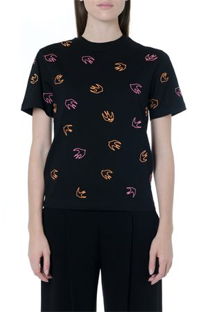 BLACK COTTON T-SHIRT WITH SWALLOW MOTIF FW 2019 McQ ALEXANDER MCQUEEN | 15 | 473705RNJ561000