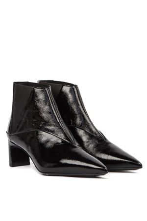 BLACK METTA CHELSEA PATENT LEATHER ANKLE BOOT 