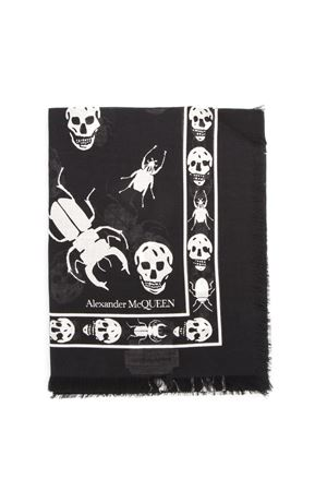 SKULL AND INSECT PRINTED BLACK SCARF FW 2019 ALEXANDER McQUEEN | 20 | 5749124A33Q1078